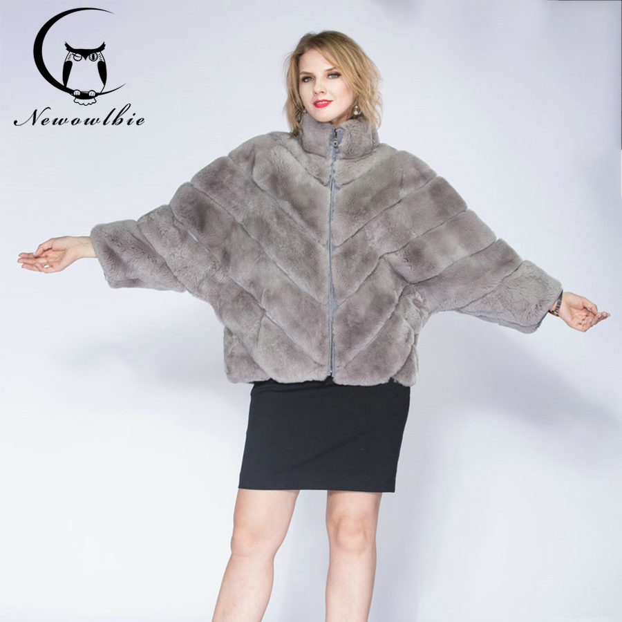 2019 Hot woman real Rex rabbit fur coat,winter  Stand collar short section thick coat, bat sleeve ladies coat  fur coat