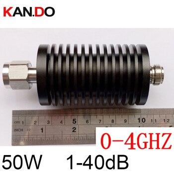 long size 50W RF attenuator N male DC-4Ghz 1-40DB attenuation feeder connector RF COAXIAL jack RADIO Attenuator 4Ghz 40dB