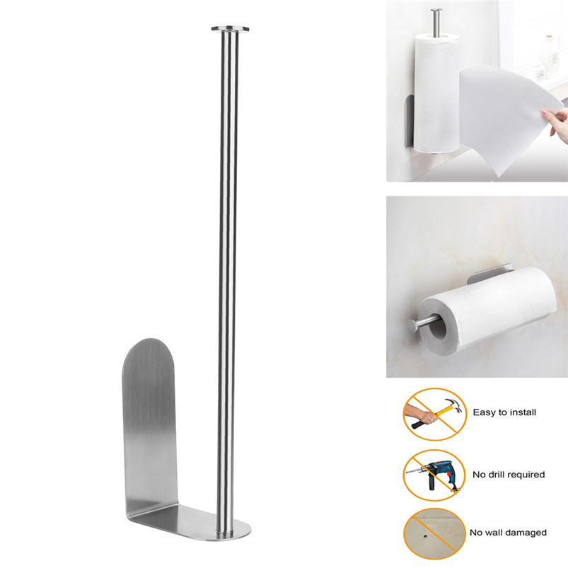Vertical Diversified Paper Towel Holder Wall Mount Paper Holder Storage Rack shelf kitchen storage rangement cuisine R03 (2)