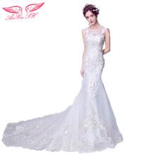 AnXin SH Handmade flowers wedding dress graceful curves, luxury art, fishtail tail wedding dress bridal lace wedding dress 9716