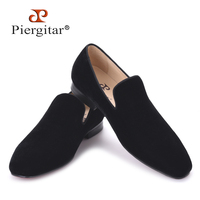 Piergitar 2017 New Arrival Men Black Velvet Handmade Flats Shoes Fashion Wedding And Party Men Dress