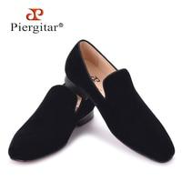 Piergitar 2017 New Arrival Men Black Velvet Handmade Flats Shoes Fashion Wedding And Party Men Dress