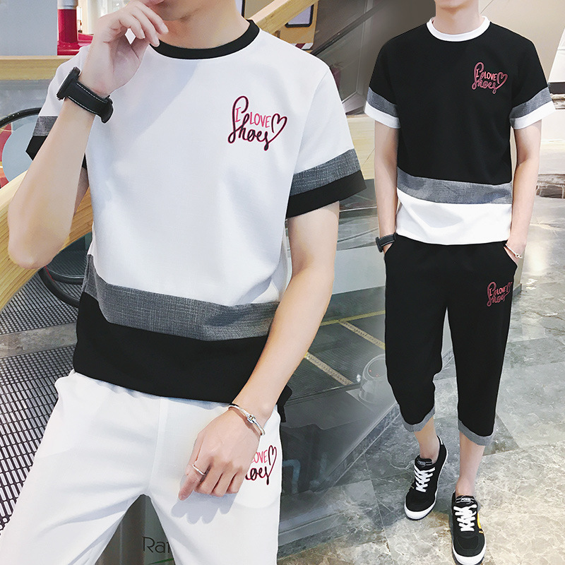 Soup Dream 2018 Summer Hot Trend Mens Letter Pattern Colorblock Short Sleeve Teen Fashio ...