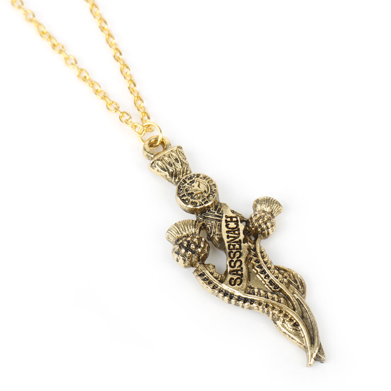 dongsheng jewelry The Outlander Sassenach with Sword Pendant Necklace Sassenach Sword Necklace Cosplay Gift For Women Men