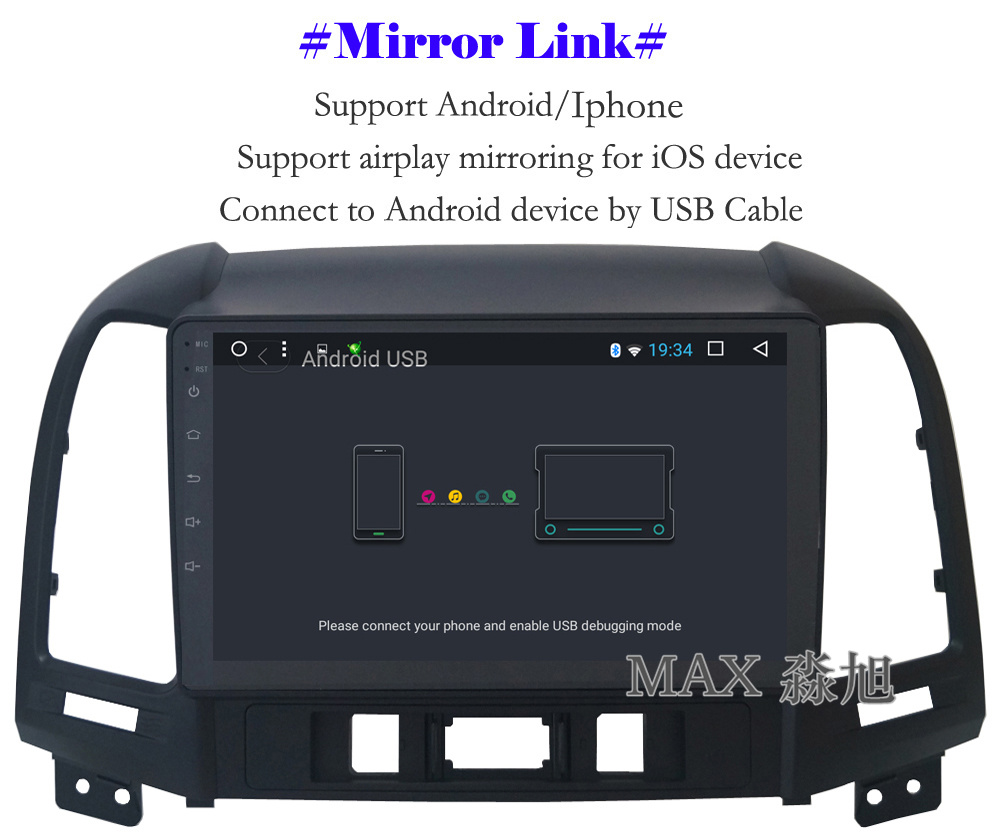 Cheap MAX Android 8.1 2G 32G 8 Core Car DVD Player for Hyundai santa fe 3/4holes with 2.5D+IPS Screen car stereo radio RDS Maps swc 9