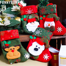 FUNNYBUNNY Christmas Gift Bags Hanging Ornaments Patterns 3D Socks for Xmas Tree Decoration Candy Bag