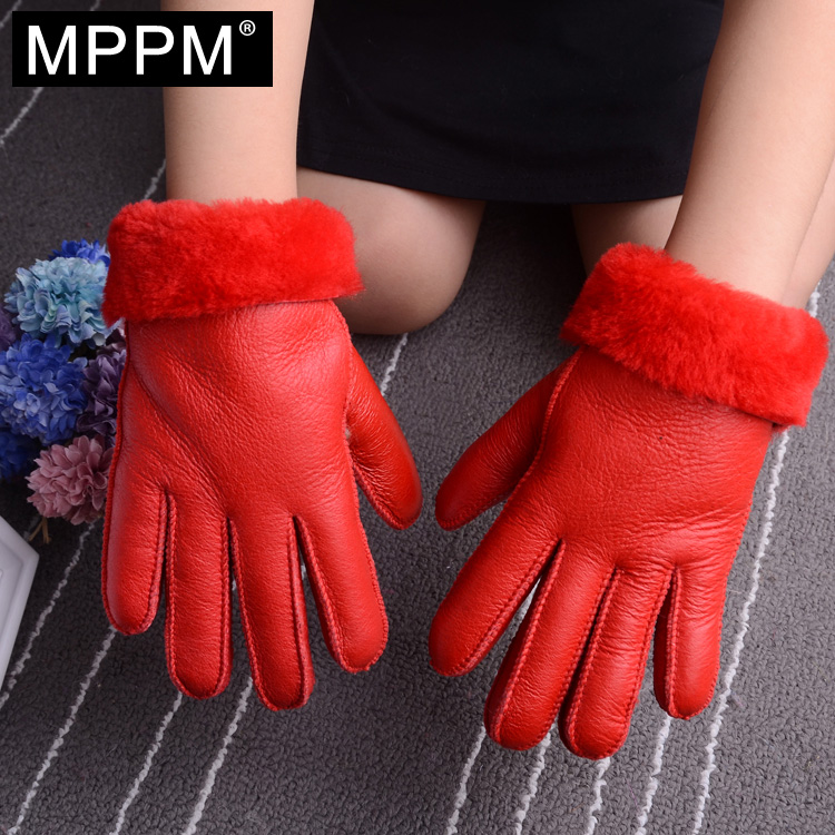 MPPM Genuine Leather Gloves Parent Child gloves Winter  Wool Fur Gloves Mittens Natural Sheepskin Gloves for girl and boy  ...
