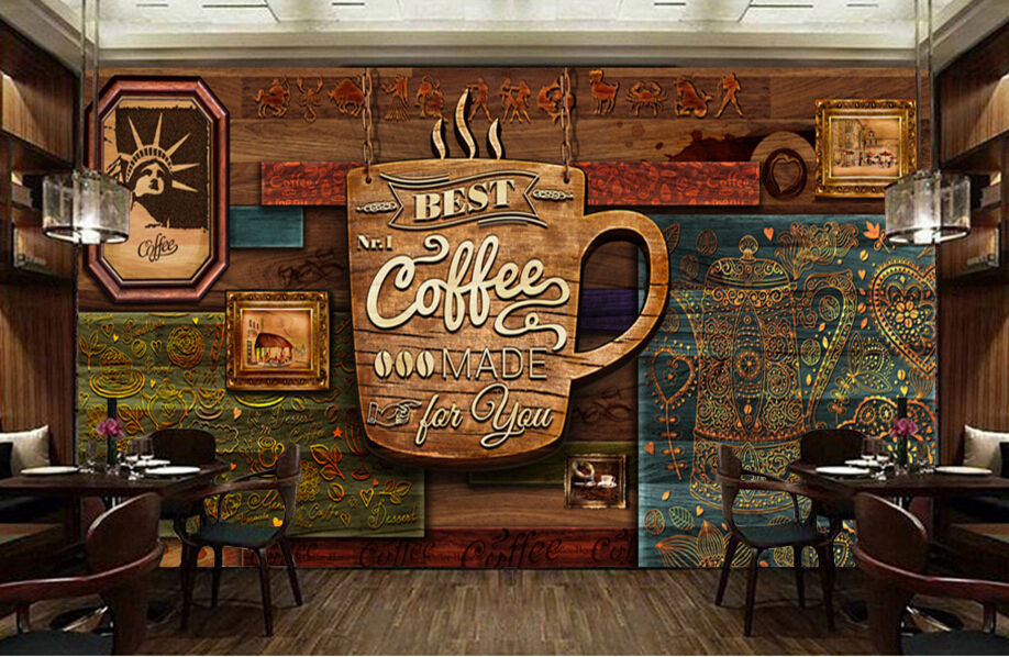 Custom food store wallpaper wood pattern coffee 3d retro for Mural coffee shop
