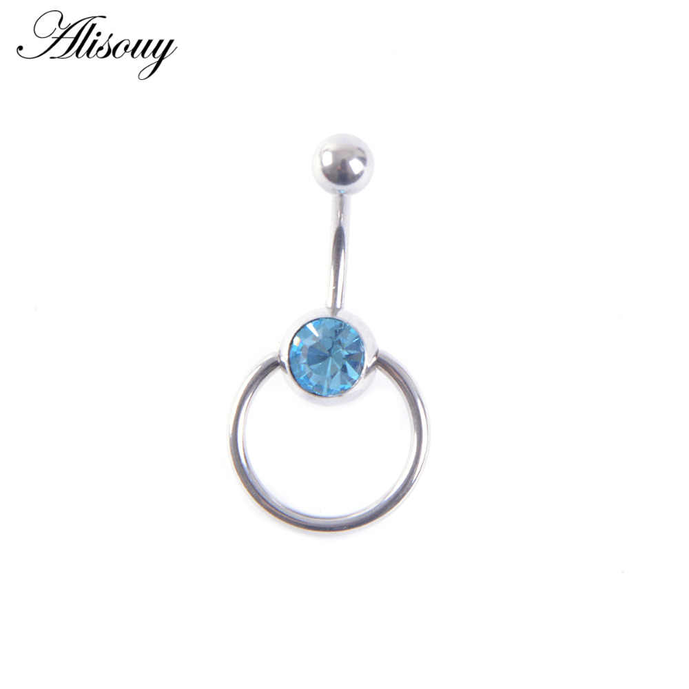 Alisouy 1 ชิ้นรอบ Blue Crystal Ball Belly Piercing Ombligo Navel Piercing Belly แหวนสแตนเลสสตีลแหวนเครื่องประดับ