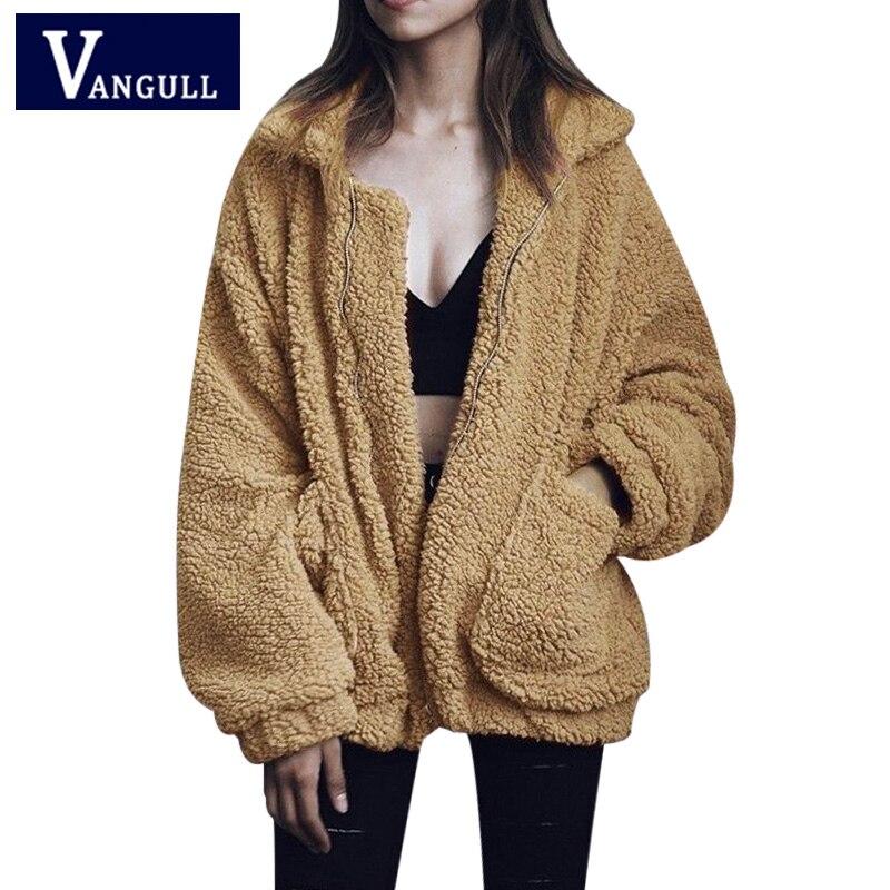 Vangull Faux Fur invierno caliente más el tamaño S-2XL mujeres moda mullido Shaggy chaqueta de bombardero señora cremallera Outwear