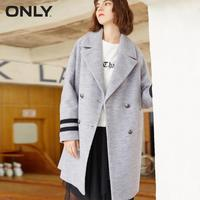 ONLY Brand wool fashion embroidery letter patch double breasted stripes long sleeves female overcoats jacket coat 117327504