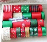 Free Shipping 24 Yards Chirstmas Series Ribbon Set Printed Grosgrain Satin Ribbon Cotton Lace Webbing Tape