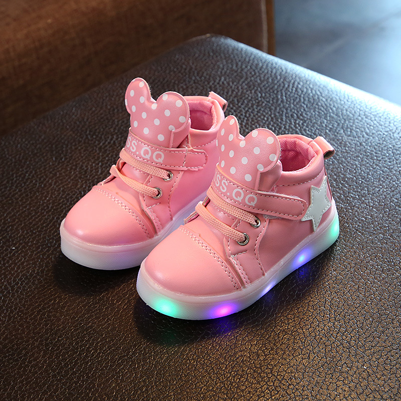 2018 new spring and autumn childrens shoes LED light shoes girls sports light shoes baby high help flash light sneakers 21-36