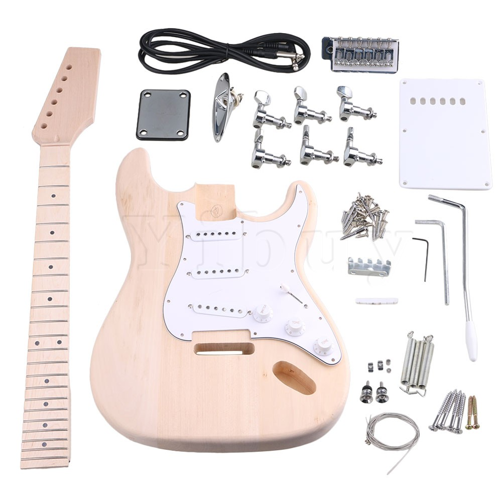 Yibuy Maple 3 Single Coil Pickup 1Tone 2Volumne Knobs Electric Guitars DIY Builder Kit With All Accessories yibuy maple diy electric guitar body neck fingerboard with tuning pegs and 2 single coil pickips suit accessories