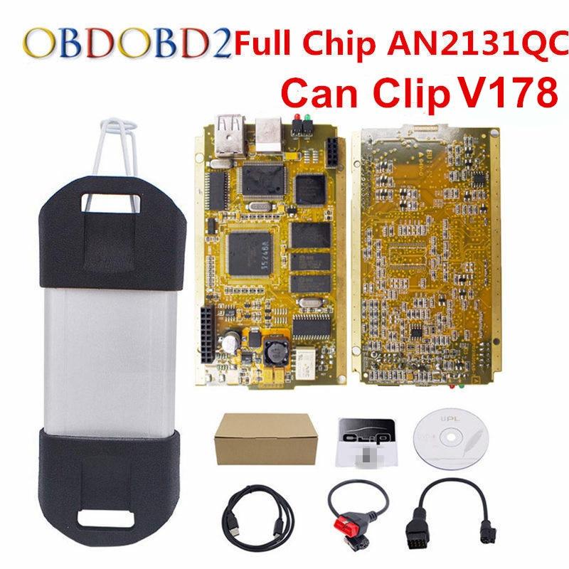 Golden PCB Can Clip V178 Full Chip CYPRESS AN2131QC+Reprog V151 OBDII Diagnostic Interface CAN Clip Car Diagnostic Tool Scanner 2018 newest v178 for renault can clip full chip gold cypress an2135sc 2136sc chip nec relay obd2 interface diagnostic scanner