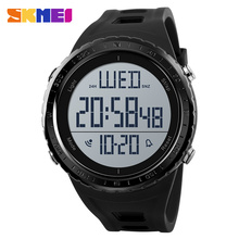 Skmei Sports Watches Men Big Dial Cuenta regresiva al aire libre Cronógrafo Shock Watch Relojes de pulsera digitales a prueba de agua Relogio Masculino