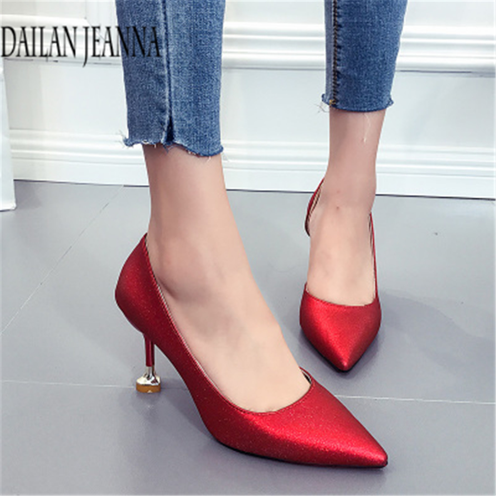 Autumn high heels 2018 new Korean version of joker thin pointed cat heel shoes female single side empty spring shoes female 16cm fine with high heels female korean version of the sexy thin bow shoes round head shallow mouth shop shoes