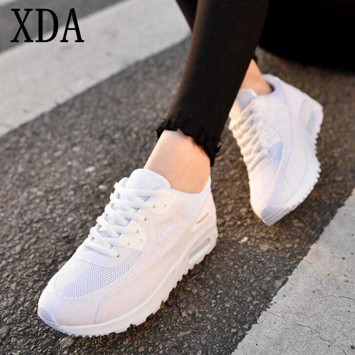 цены XDA Fashion Korean Women Shoes Spring Casual Shoes Outdoor Walking Shoes Flats Lace-Up breathable Ladies canvas shoes F248