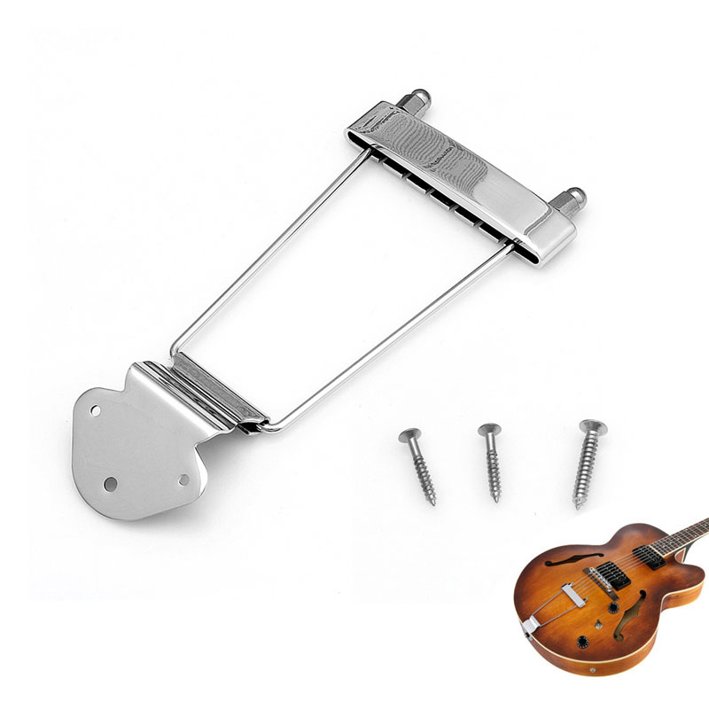 Chrome Guitar Tailpiece Trapeze Open Frame Bridge for 6 String Archtop Guitar black 6 string saddle guitar tailpiece tremolo bridge for headless guitar replacement