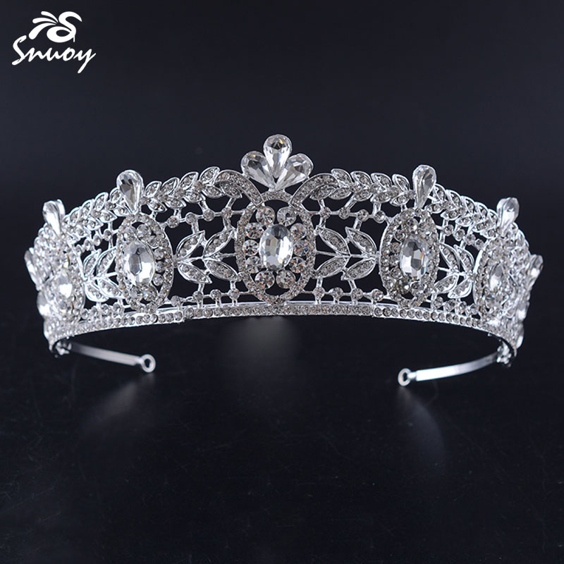 Snuoy Big Bridal Queen Tiara Crowns Luxury Gold Red Stone Crown Greek Leaf Hairbands Female Hair Jewelry Wedding Accessories