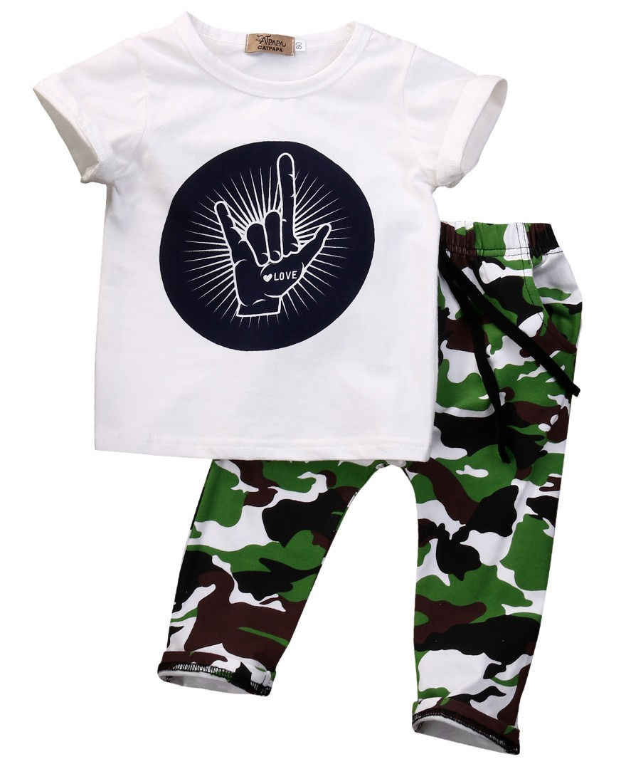 f7e9cb2a ... Fashion Toddler Kids Baby Boys White Cartoon Short Sleeve T-shirt  Camouflage Long Pants Outfits ...