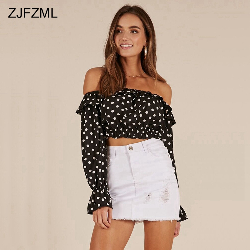 f5634b45246 [Limited Offer] ZJFZML Polka Dot Ruffle Off Shoulder Crop Tops Women Long  Sleeve Chiffon Tee Streetwear Sexy Backless White Black Red Shirts