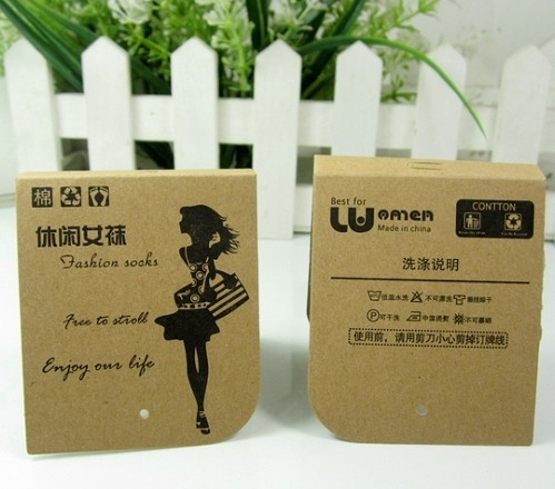 free shipping custom customized brand name logo sock paper packaging