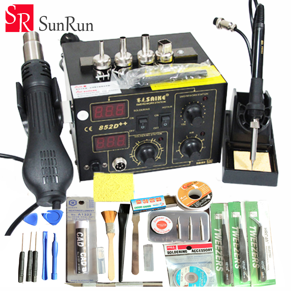 цена на Free Shipping 220V/110V Saike 852D++ 2 in 1 Hot Air Rework Station soldering station with Supply air gun rack and many gifts.