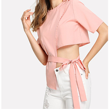 2019 women tops o-neck short sleeve summer fashion new High waist bow half-back short sleeves pink sexy blouses shirt 559F3 white round neck bell sleeves embroidered blouses