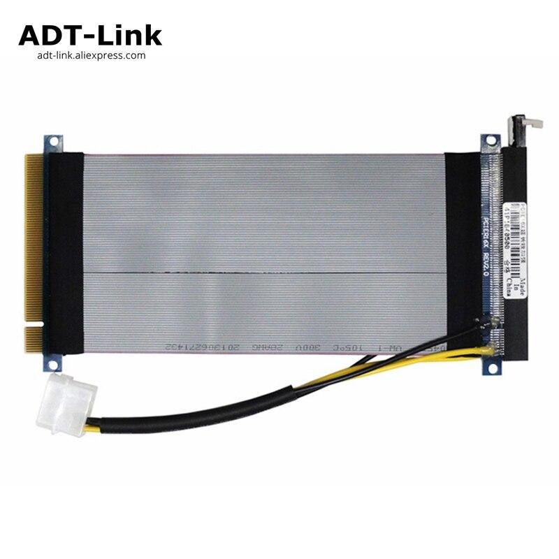 PCI Express 16X Riser Flexible Ruban Extender Câble PCIe x16 Extension avec 12 v Molex 4pin Câble D'alimentation 15 cm 20 cm 25 cm 30 cm 35 cm