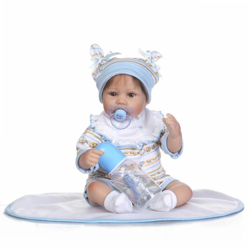 Nicery 16-18inch 40-45cm Bebe Doll Reborn Soft Silicone Boy Girl Toy Reborn Baby Doll Gift for Children Blue Hat Clothes Doll [mmmaww] christmas costume clothes for 18 45cm american girl doll santa sets with hat for alexander doll baby girl gift toy