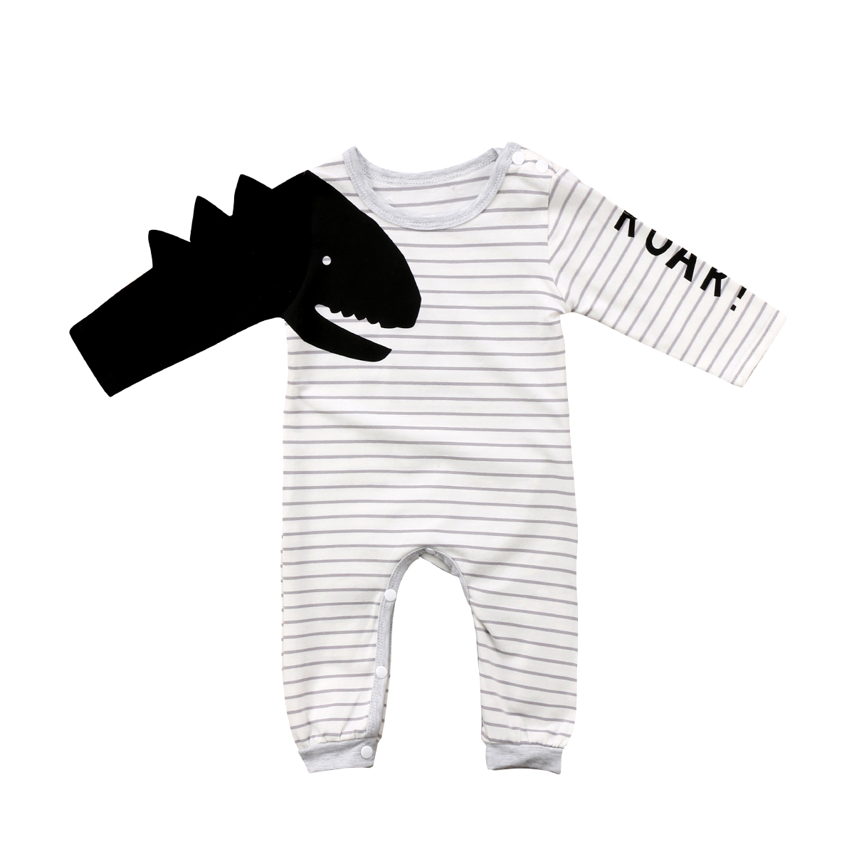 Cute Newborn Baby Boys Girls 3D Dinosaur Striped   Romper   Jumpsuit Letter Long Sleeves Cool Playsuit Infant Outfits Set Clothes
