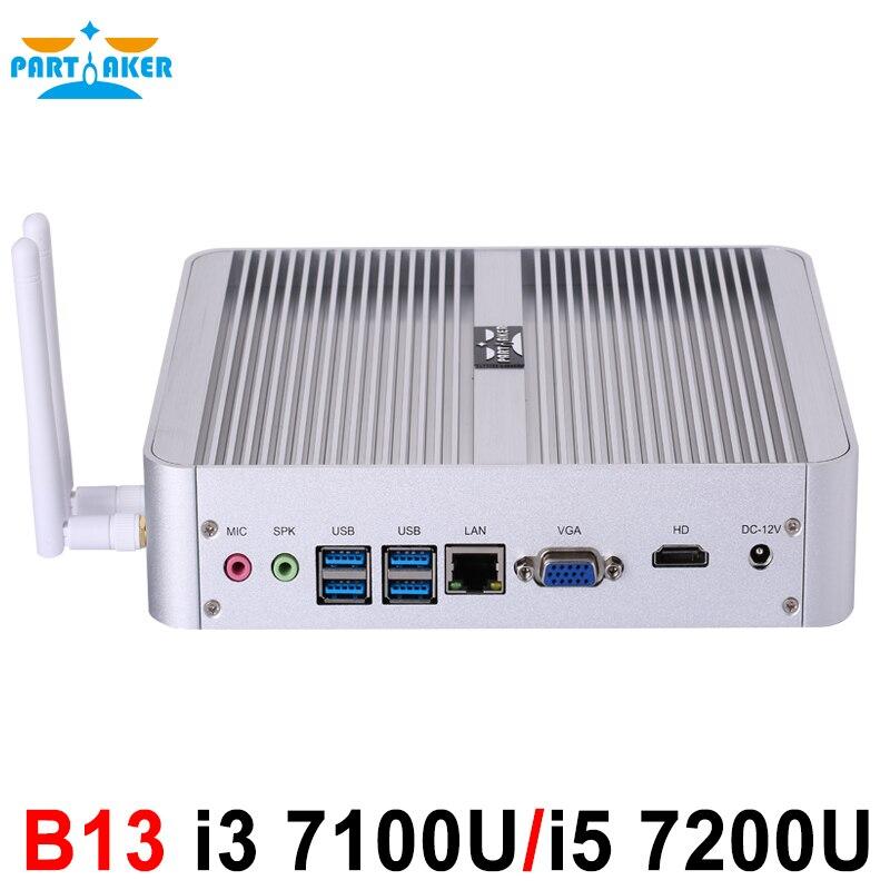 B13 Partaker Fanless Mini PC I3 7100U I5 7200U Windows 10 HDMI DP