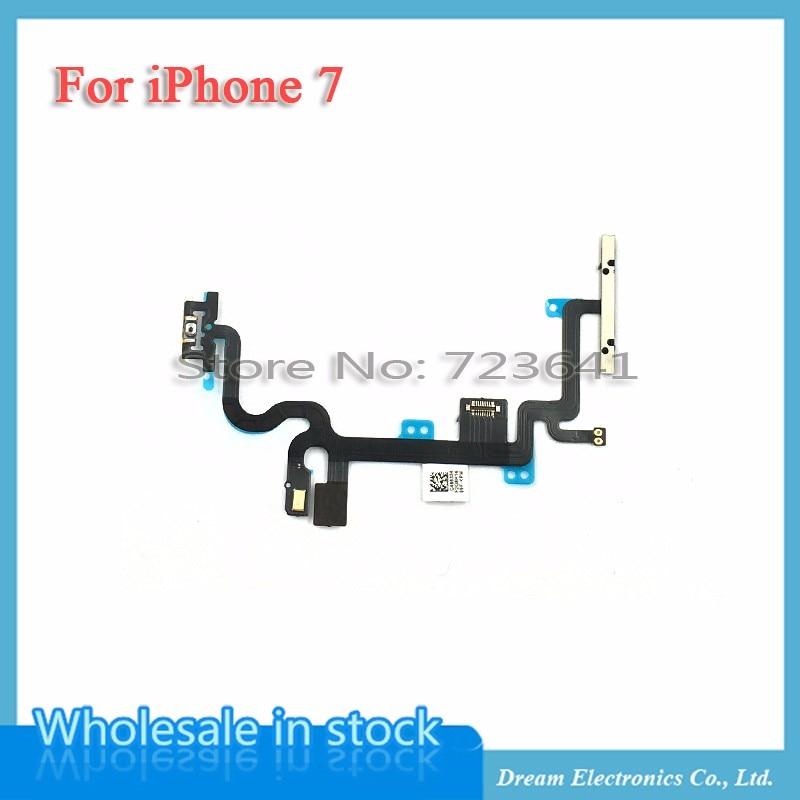 imágenes para 10 unids/lote Power ON/OFF Interruptor de Control de cable de la Flexión para el iphone 7 7G 4.7 Botón de Volumen de Repuesto Flex reparación de Piezas de envío gratis