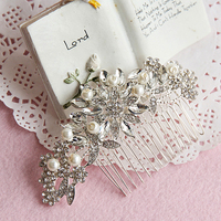 Fashion Bridal Wedding Flower Crystal Rhinestones Pearls Women Hair Clip Comb Jewelry Pins Accessories Item NO