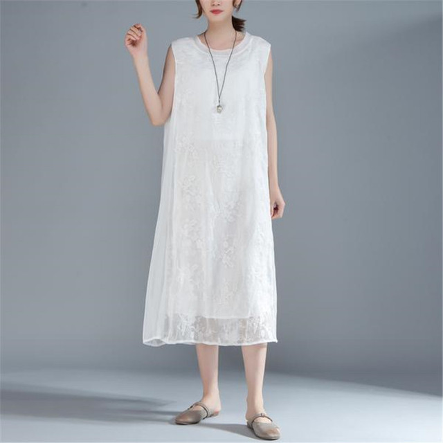 2ecfbf977a59 BUYKUD 2018 Summer Women Floral Embroidered Sleeveless White Dress Round  Neck Elegant Lady Loose Midi Dresses With Lining