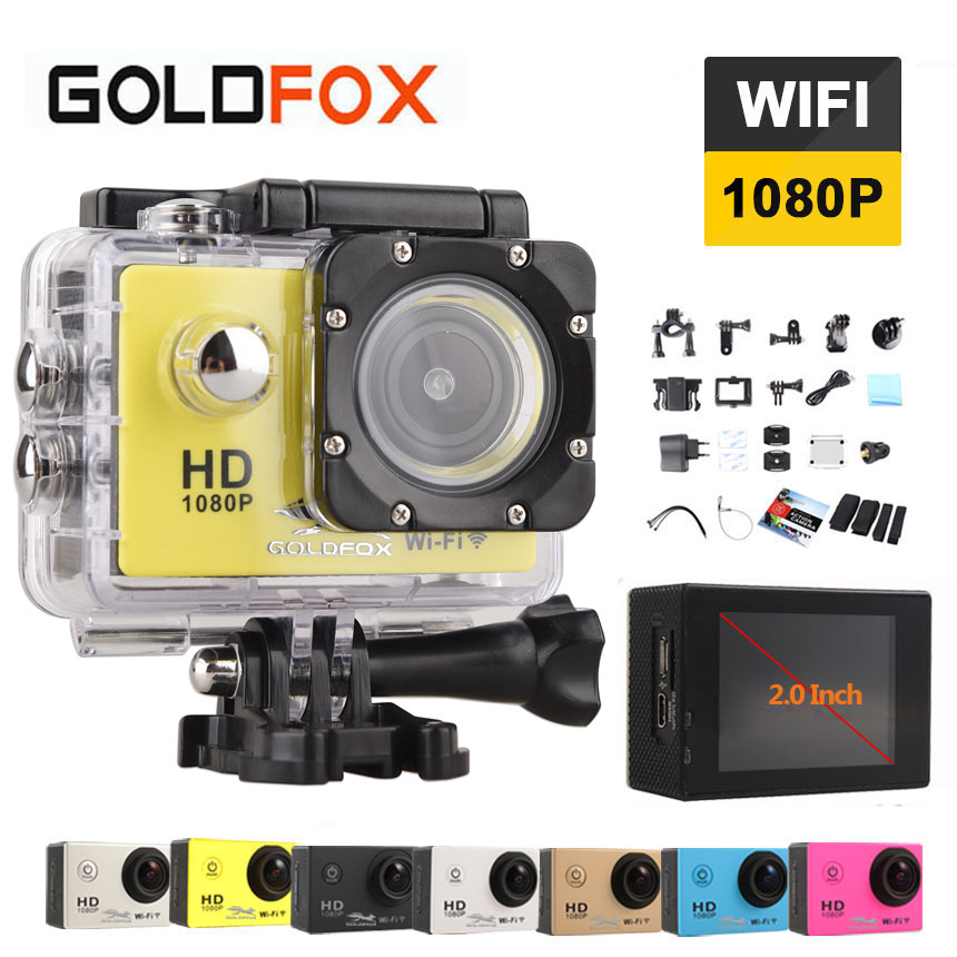 Goldfox 12MP 1080P Wifi Sport Action Camera 170D wide angel Lens 30M Go Waterproof Pro Sport Dv Bike Helmet Cam