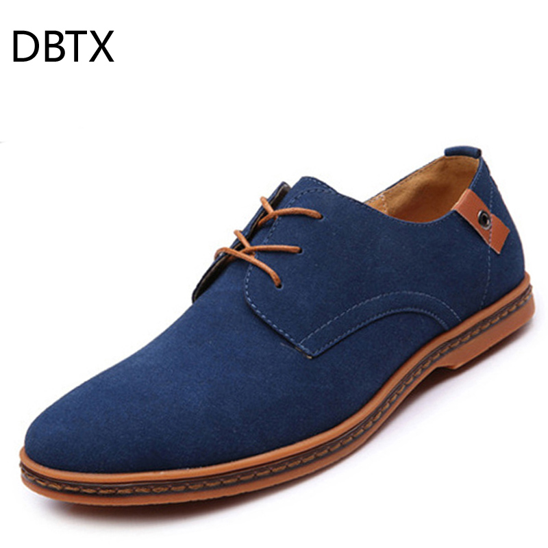 DBTX Men Casual Shoes   Leather     Suede   Breathable Man Oxfords Shoes Flats Business Male Zapatillas Hombre Big Size 48 Drop Shipping