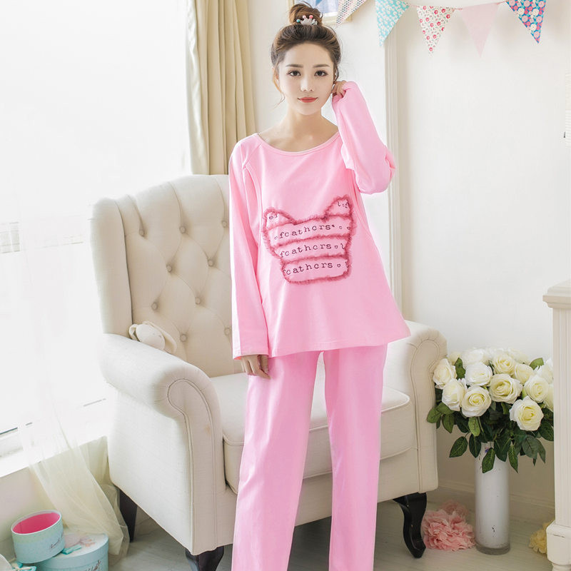 Maternity Nursing Set Breastfeeding clothes Maternity Sleepwear clothes for Pregnant Women long-sleeved cotton lovely Pajamas 2016 winter nursing clothes sleepwear pregnant costume top quality cotton breastfeeding pajamas maternity clothes mother xxxl