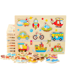 цена Baby Toys Montessori wooden Puzzle/Hand Grab Board Set Educational Wooden Toy Cartoon Vehicle/ Marine Animal Puzzle Child Gift онлайн в 2017 году
