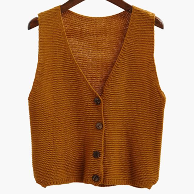 2016 la primavera y el otoño de la rebeca del diseño corto chaleco del suéter prendas de vestir exteriores del suéter sin mangas floja chaleco primavera femenina delgada y otoño