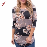 Women Floral Print Long Sleeve Shirt Loose Casual Blouse Top 2017 Autumn Newest Fashion Ladies Print