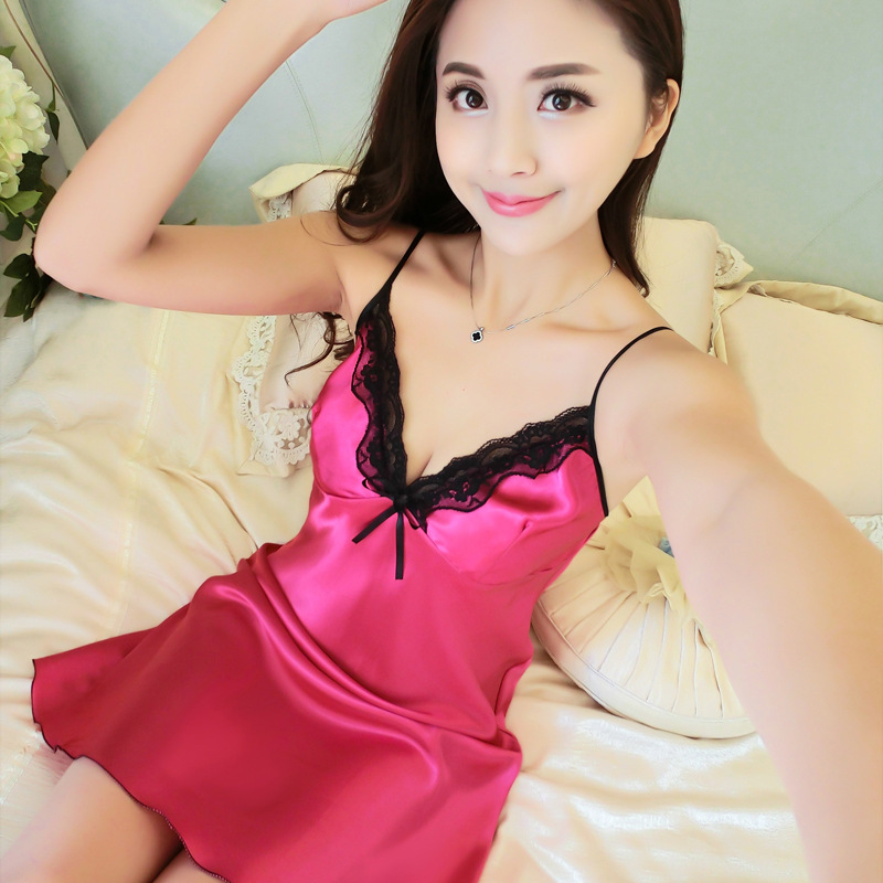 2018 Women Sexy Silk Satin Night Gown Sleeveless Nightdress Lace Sleep Dress V-neck Nighties Night Sleepwear Nightwear SQ31