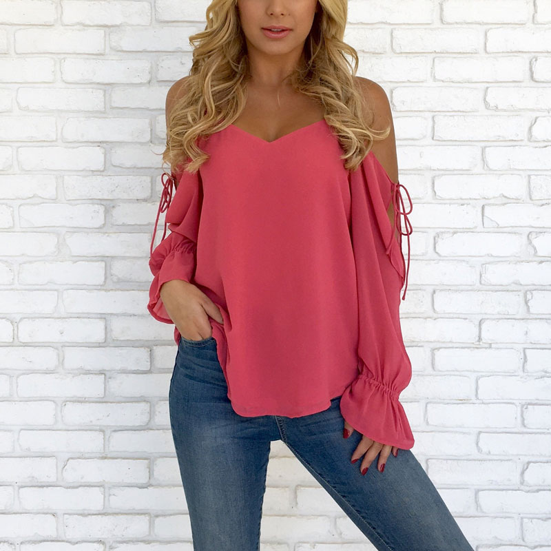 1c8d9ada8f2 2018 Bnadage Chiffon Blouse Women Off Shoulder Solid Color Summer Chiffon  Shirt Long Sleeve Casual Blouses Shirt Feminine Blouse