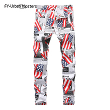 Print Jeans Pants Stretch American Mens Casual Flag Slim Star for Big-Size Five-Pointed