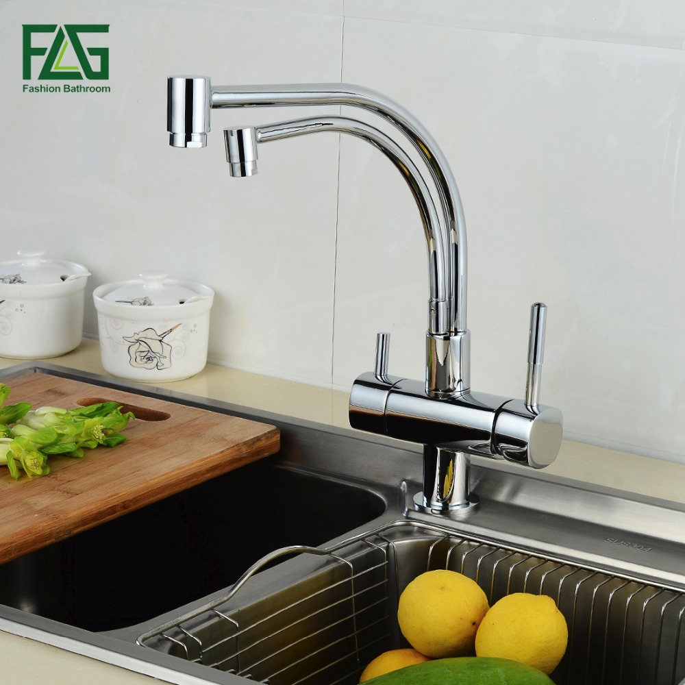 FLG 100% Copper Chrome Polished Swivel Drinking Water Faucet 3 Way Water Filter Purifier Kitchen Faucets For Sinks Taps 256-33C sognare 100% brass marble painting swivel drinking water faucet 3 way water filter purifier kitchen faucets for sinks taps d2111