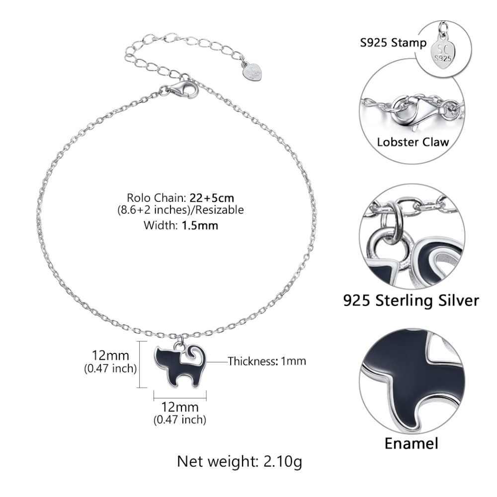 u7 sterling silver 925 enamel animal cat anklets for women summer leg bracelet ladies female foot  [ 1000 x 1000 Pixel ]
