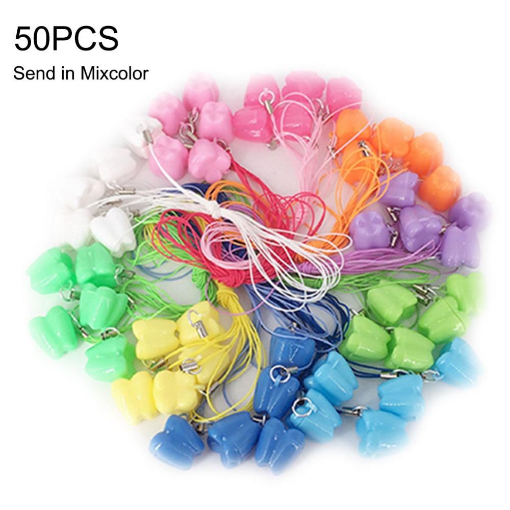 50pcs/set Children's Kids Deciduous Tooth Storage Box Mini Teeth Storage Chain Box Tooth Souvenir Save Tools