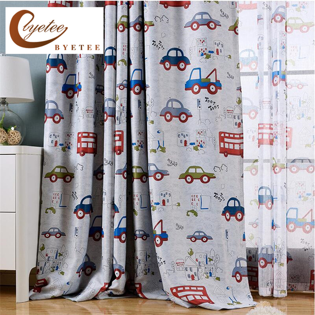 {byetee} Modern Cartoon Child Bedroom Curtains Customize Finished Boy Car  Curtains Balcony Window Cortinas