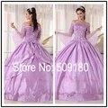 2016 Nuevo de Calidad Superior Del Hombro Aduana Hace el Diseño QD71310 Debutante Vestidos Vestido De Festa Vestidos Formales Púrpuras